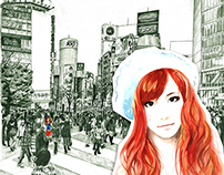 Girl in Shibuya, Tokyo (Pencil & Watercolour)