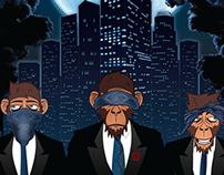 Midnight Blues X 3 Wise Monkeys