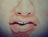 Caricatura Sylvester Stallone, lápis de cor