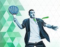 Logotipo y cartel para torneo de padel entre abogados
