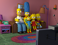 The Simpsons couch in 3D
