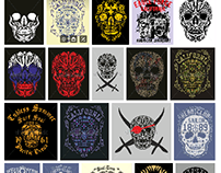 tattoo tribal skull graphic design vector art