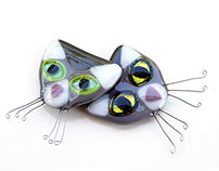 Sparkling-Eyed Cat fridge magnets