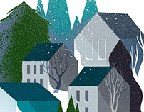 Snowy Town holiday card