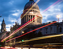 Light streaks of St Paul's