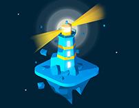 Lighthouse isometric icon/illustration
