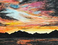 Sunset at the Colorado River Oil Pastel
