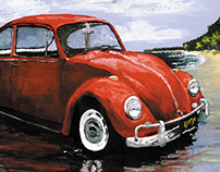 VW Bug on the beach
