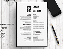 B&W Professional Resume Template / CV template
