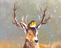 Le cerf et l'oiseau