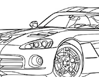 Dodge Viper Digital Illustration- Step One