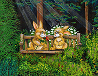 Two Rabbits in Love - Children's Illustration