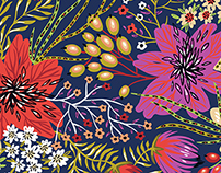 Colored and fantasy blooms in vector patterns