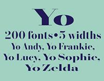 Yo® 200 Didot fonts in 5 widths.