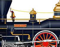 """The General"" -- Steam Locomotive illustration."