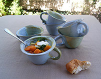 Blue green organic shaped soup bowls with handle
