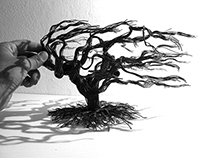Handmade wire tree sculpture - 002