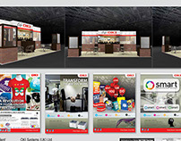 Retail sector event booth display, ads and backdrop