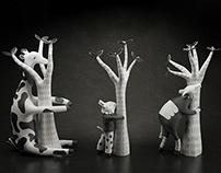 3D Printed Treehuggers  - Illustrator Saša Ostoja