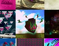 Diseños, fotografías e ilustraciones.