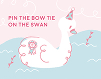 Pin the bow on the swan