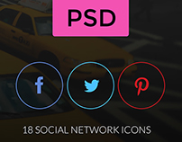 Rings - Social Network Icons in Circles PSD