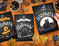 Chalked Halloween posters and postcards