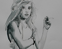 smoking girl; inspired by Sally Mann photo