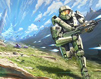 Gaming Painting #1 - Halo fan art (with video process)