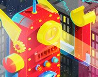 Robot juguete fuera de control: Ilustración Vectorial