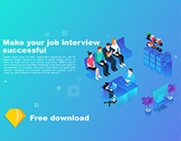 free download isometric illustration Website header