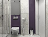 Delikatna łazienka z fioletową mozaiką
