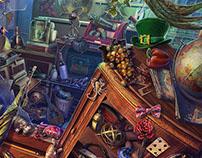 Art for the hidden object game AV: The Obsidian Book