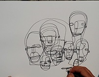 Non-stop drawing portraits in one single line. (5min)
