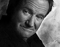 Pencil Portrait of Robin Williams by Julio Lucas
