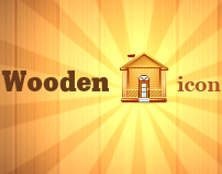 Wooden icon set
