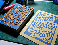 """Fight for your Right"" Block Print"