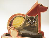 Ceramic pen-card holder