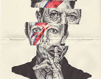 bic biro sketchbook drawing of David Bowie