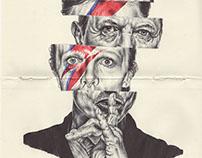 bic biro sketchbook drawing of David Bowie