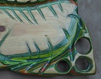 Food Tray - sand-sculpted marine  plywood