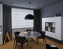 Minimal grey, black & azure appartment