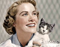 Grace Kelly and kitten colorized.