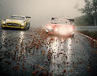 GT3 cars on a racetrack