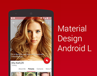 Dating app profile screen Material Design concept