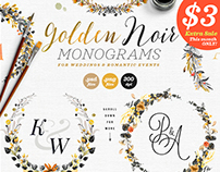 6 Golden Noir Wedding Monograms IX