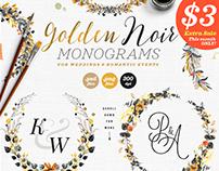6 Golden Noir Wedding Monograms IX