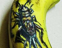 Draw 3D oil panting on banana