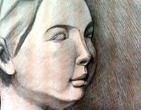 Draw pencil plaster portrait