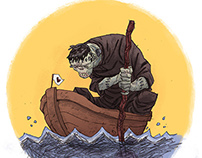 Frankenstein's monster in a boat